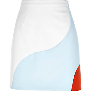 Cream abstract print mini A-line skirt