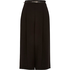 Black smart long culottes