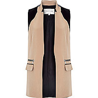 Brown fitted longline sleeveless jacket