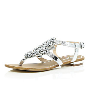 Silver gem embellished sandals