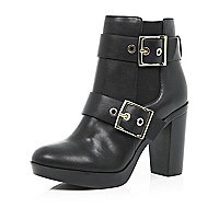 Black buckle heeled ankle boots