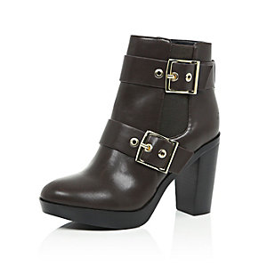 Dark brown buckle heeled ankle boots