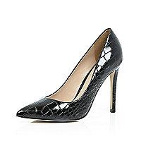 Black patent leather croc pumps