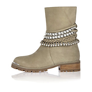 Grey leather embellished biker boots