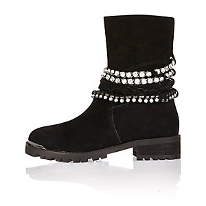 Black leather embellished biker boots