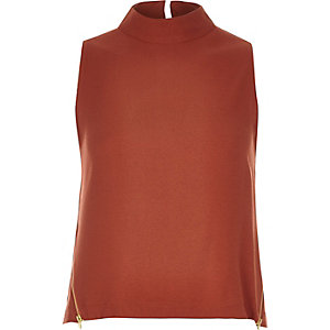 Dark orange zip side sleeveless top
