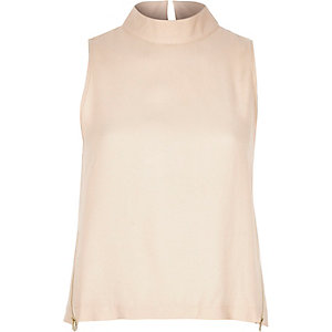 Beige side zip sleeveless top