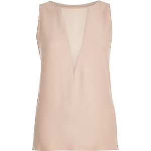 Light pink plunge neck sleeveless top