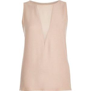 Light pink plunge neck sleeveless top