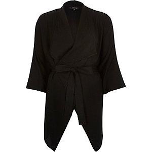 Black draped belted kimono