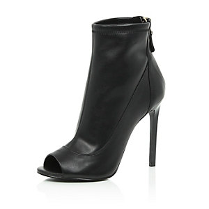 Black leather peep toe ankle boots