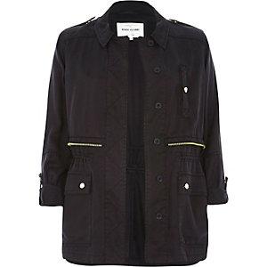 Black utility military casual jacket