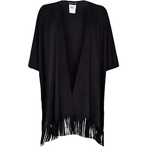Black faux suede fringed cape