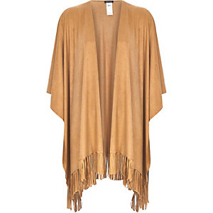 Camel faux suede fringed cape