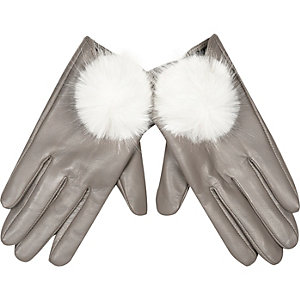 Cream leather pom pom gloves