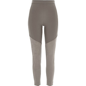 Grey panelled suedette leggings