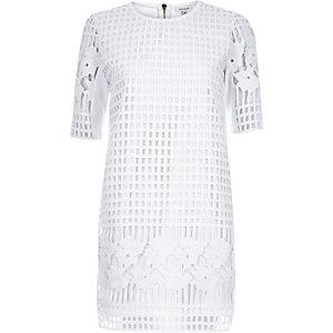 White grid lace t-shirt dress