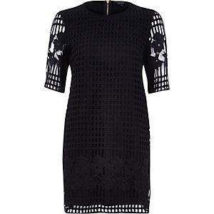 Black grid lace t-shirt dress