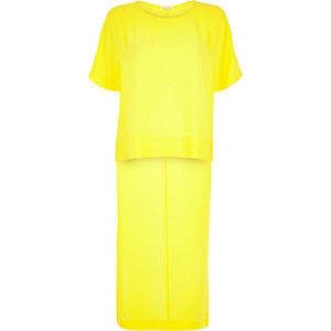 Bright yellow longline back t-shirt