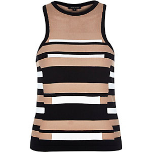Black stripe knitted sleeveless top