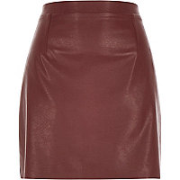 Deep brown leather-look A-line skirt