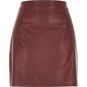 Burgundy red leather-look A-line skirt