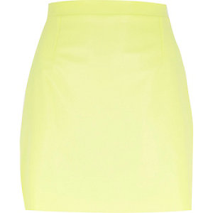 Yellow leather-look A-line skirt