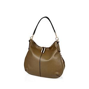 Khaki green slouchy zip handbag