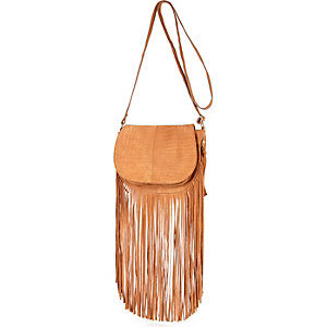 Camel leather fringed cross body handbag