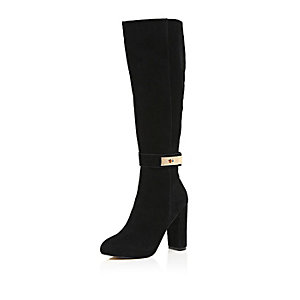 Black suede knee high heeled boots