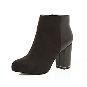 Dark brown heeled ankle boots