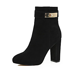 Black suede lock heeled ankle boots