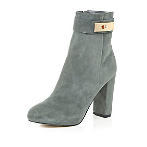Grey suede lock heeled ankle boots