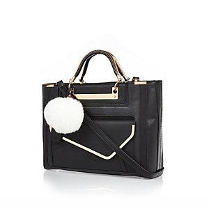 Black structured pom pom tote handbag
