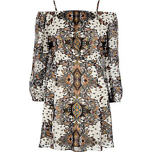 Cream scarf print bardot dress