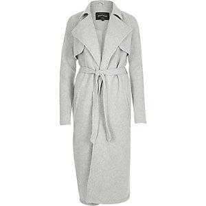 Light grey longline trench coat