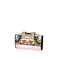 Pink paisley print fold over tab purse