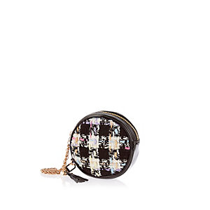 Black tweed mini round purse