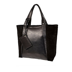 Black leather large shopper handbag