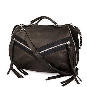Black leather tassel bowler handbag