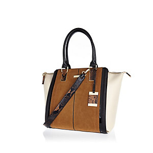 Tan faux suede winged tote handbag