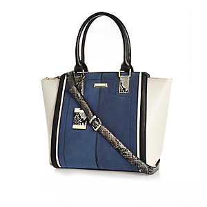 Navy faux suede winged tote handbag