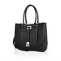 Black pleat tote handbag