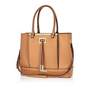 Tan brown structured tote handbag