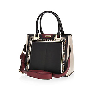 Black snake print structured tote handbag