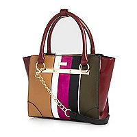 Red stripe mini tote handbag