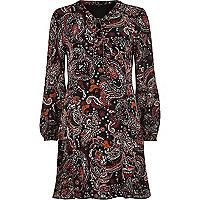 Black paisley print lattice front swing dress