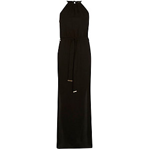 Black satin waisted maxi dress