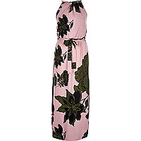 Pink floral print 90s waisted maxi dress