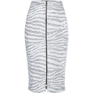 Grey zebra print zip front pencil skirt